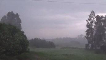 Chuva Forte Caindo, Veja A Força Que Os Ventos Sopram E A Água Cai!