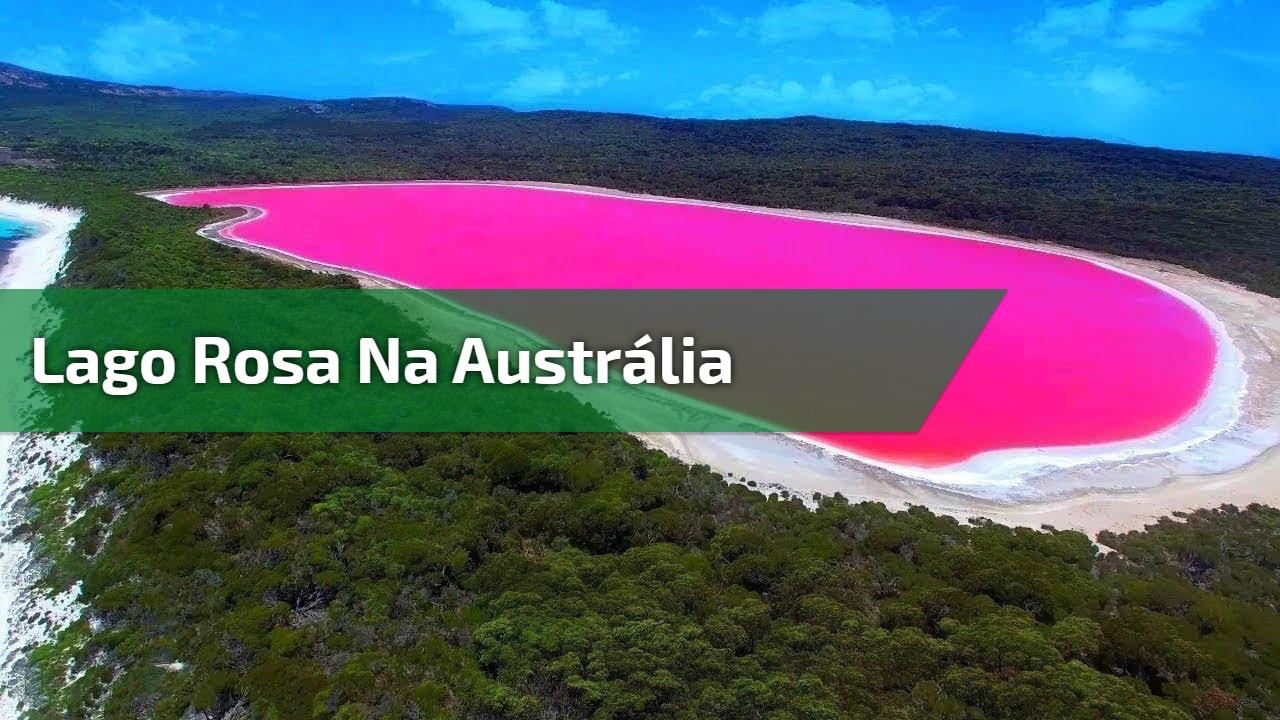 Lago Rosa na Austrália, veja o contraste da cor do lago com a cor do mar!!!