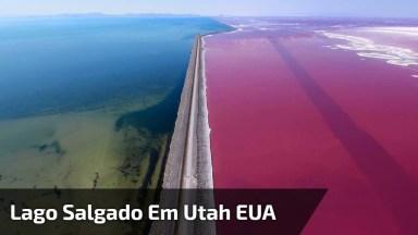 Lago Salgado Em Utah Estados Unidos, A Cor Rosada Impressiona!
