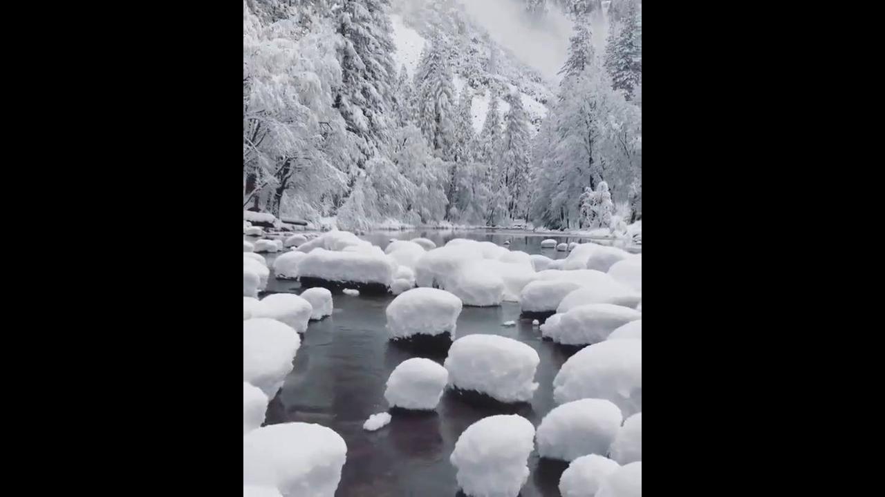 Paisagem do inverno com neve espetacular