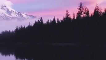 Por Do Sol Em Monte Hood Em Oregon, Uma Belíssima Paisagem!
