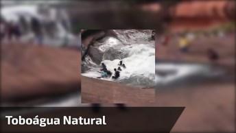 Toboágua Natural Em Cachoeira, Veja Que Espetáculo Da Natureza!