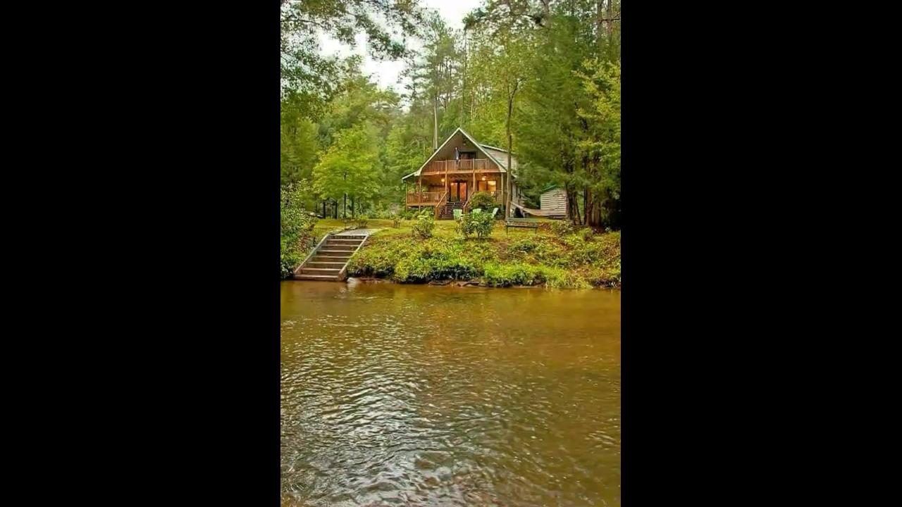 Vídeo com linda cabana cercada por natureza
