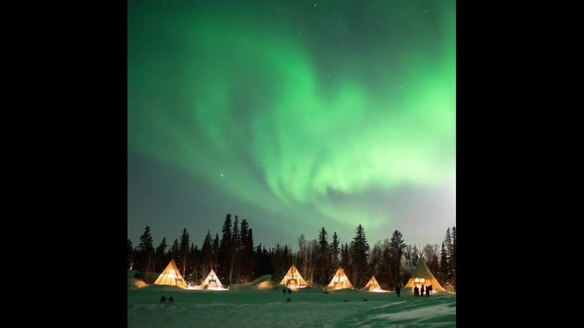 Vídeo mostrando aurora boreal
