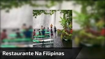 Vídeo Mostrando Restaurante Que Fica Nos Pés De Uma Cachoeira Na Filipinas!