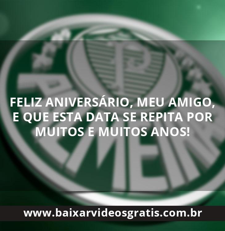Mensagem de Feliz aniversário para amigo, com simbolo do Palmeiras