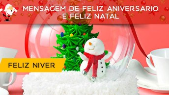 Mensagem De Feliz Aniversário E Feliz Natal. Parabéns Pelo Seu Dia!
