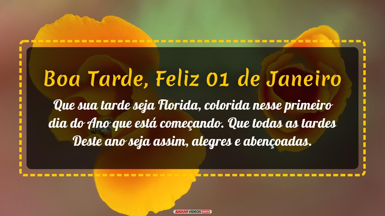 Que sua tarde seja Florida, colorida nesse primeiro dia do Ano que está começando. Que todas as tardes Deste ano seja assim, alegres e abençoadas.