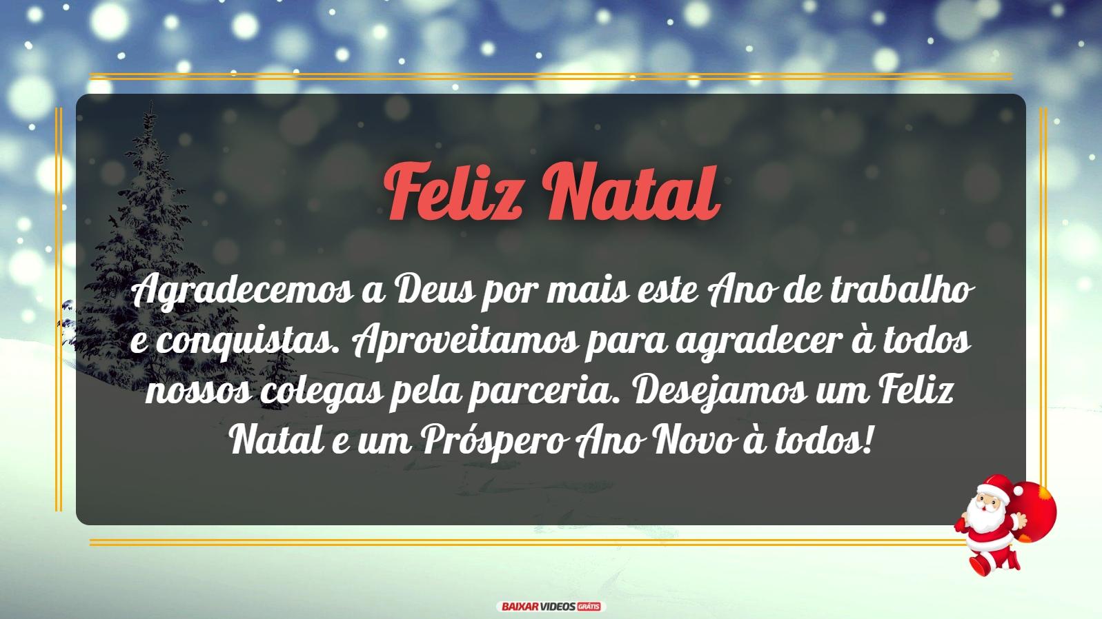Feliz Natal! Agradecemos a Deus por mais este Ano de trabalho e conquistas. Aproveitamos para agradecer à todos nossos colegas pela parceria. Desejamos um Feliz Natal e um Próspero Ano Novo à todos!