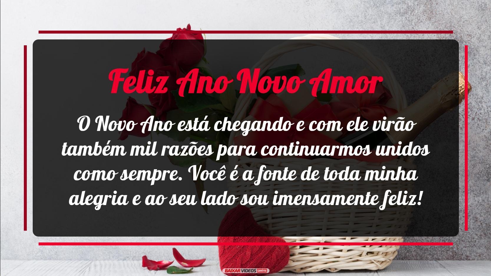 Meu amor, o Novo Ano está chegando e com ele virão também mil razões para continuarmos unidos como sempre. Você é a fonte de toda minha alegria e ao seu lado sou imensamente feliz. Feliz Ano Novo!