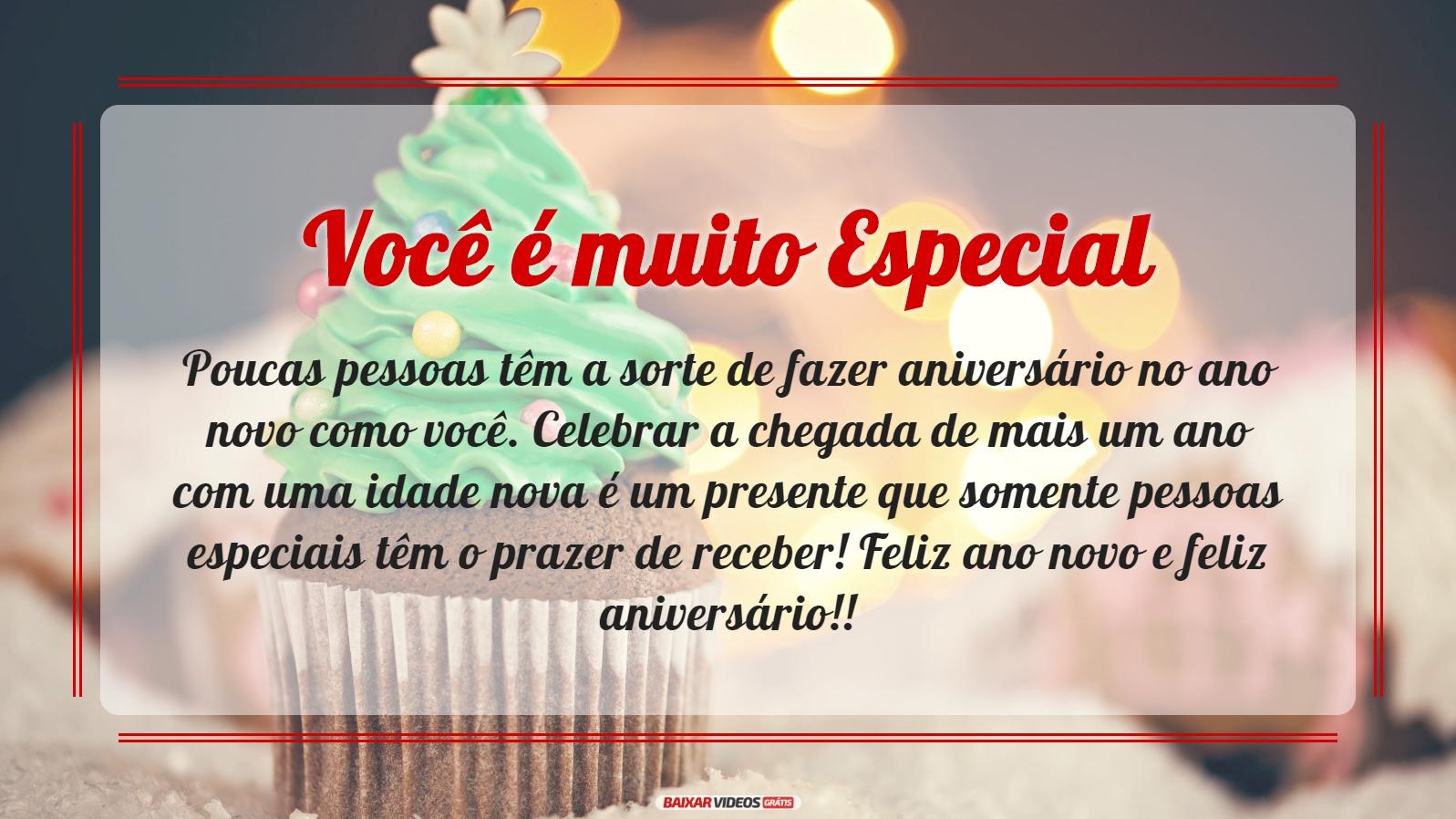 Poucas pessoas têm a sorte de fazer aniversário no ano novo como você. Celebrar a chegada de mais um ano com uma idade nova é um presente que somente pessoas especiais têm o prazer de receber! Feliz ano novo e feliz aniversário!!