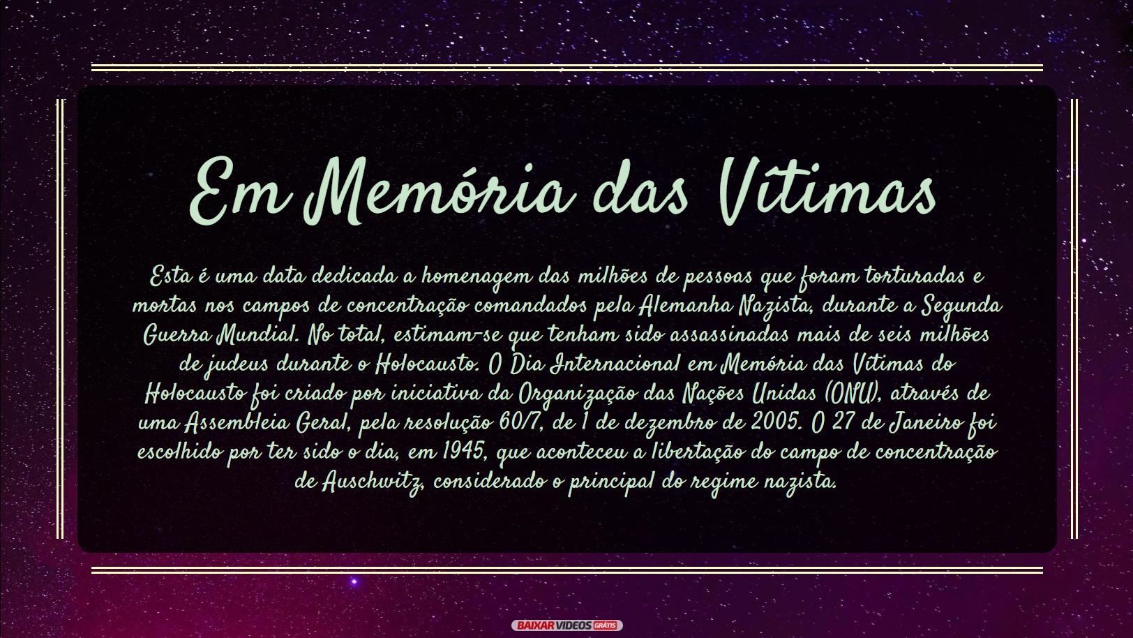 Em Memória das Vítimas do Holocausto