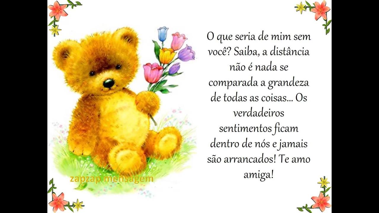 Mensagem para amiga com ursinho