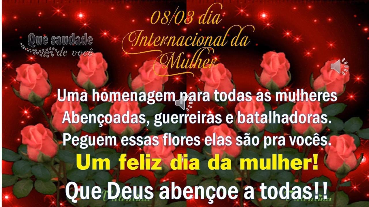 Mensagem linda para o 08/03 Dia Internacional da mulher