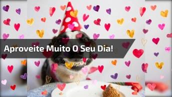 Mensagem De Feliz Aniversário Com Cachorro, Para Parabenizar No Facebook!