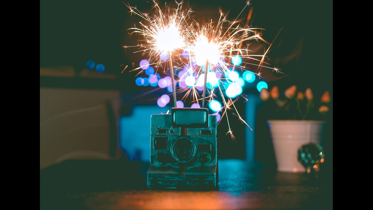 Mensagem de feliz ano novo com brilho
