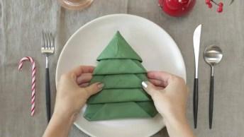 Aprenda A Dobrar O Guardanapo Em Formato De Árvore De Natal!