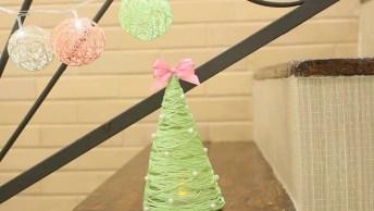 Aprenda A Fazer Uma Árvore De Natal Usando Linha E Cola, Confira!