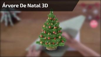 Árvore De Natal 3D Feita Com Papel, Para Enfeitar Sua Noite Natalina!