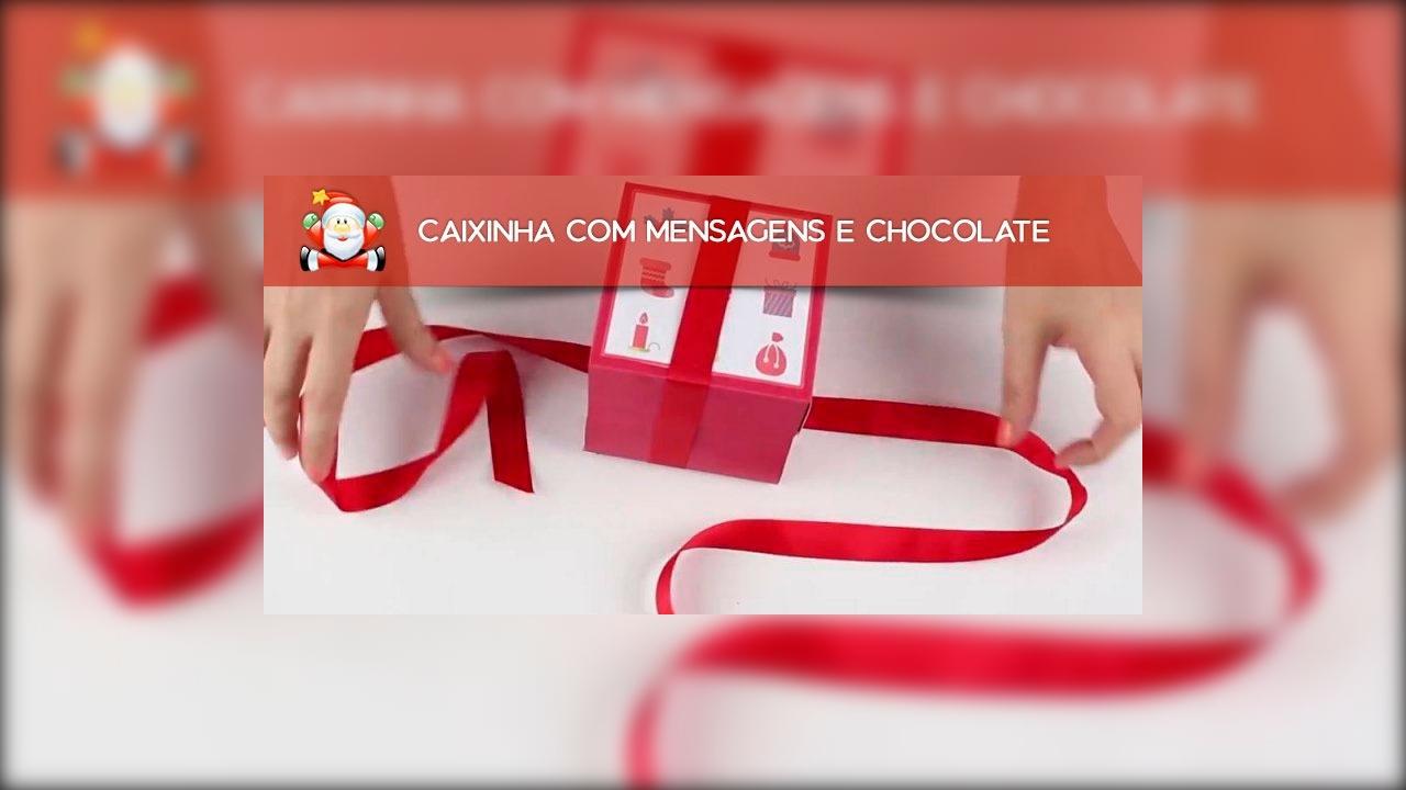 Caixinha com mensagens e chocolate para dar de presente de Natal