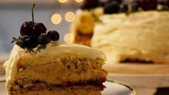 Receita De Sobremesa De Natal, Torta Guirlanda De Frutas Vermelhas!