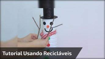 Tutorial De Boneco De Neve Para O Natal Feito Com Latinhas, Confira!