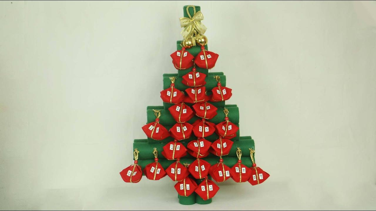 Tutorial de calendário para o Natal, feito com rolinhos de papel alumínio!!!