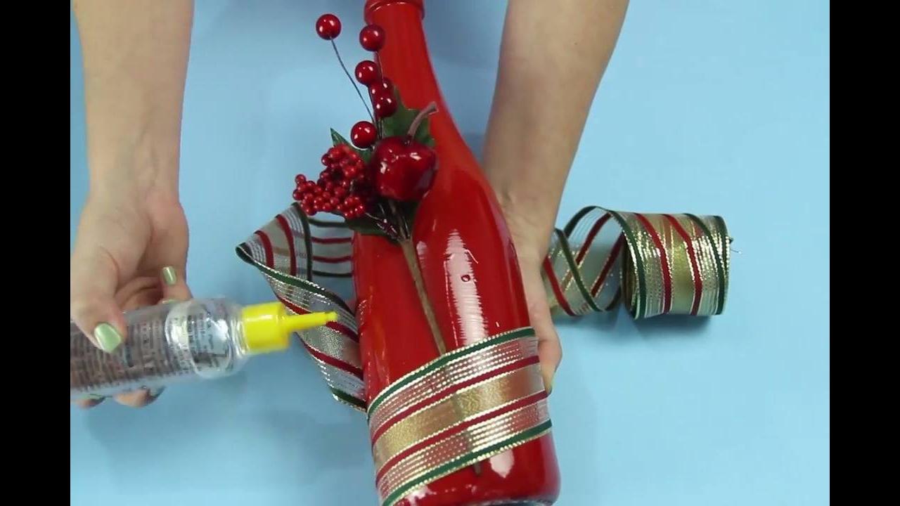 Tutorial de como fazer garrafas enfeitadas para o Natal