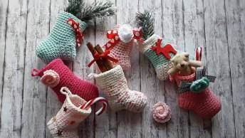 Tutorial De Como Fazer Mini Pezinhos De Meia De Crochê, Para Decoração De Natal!