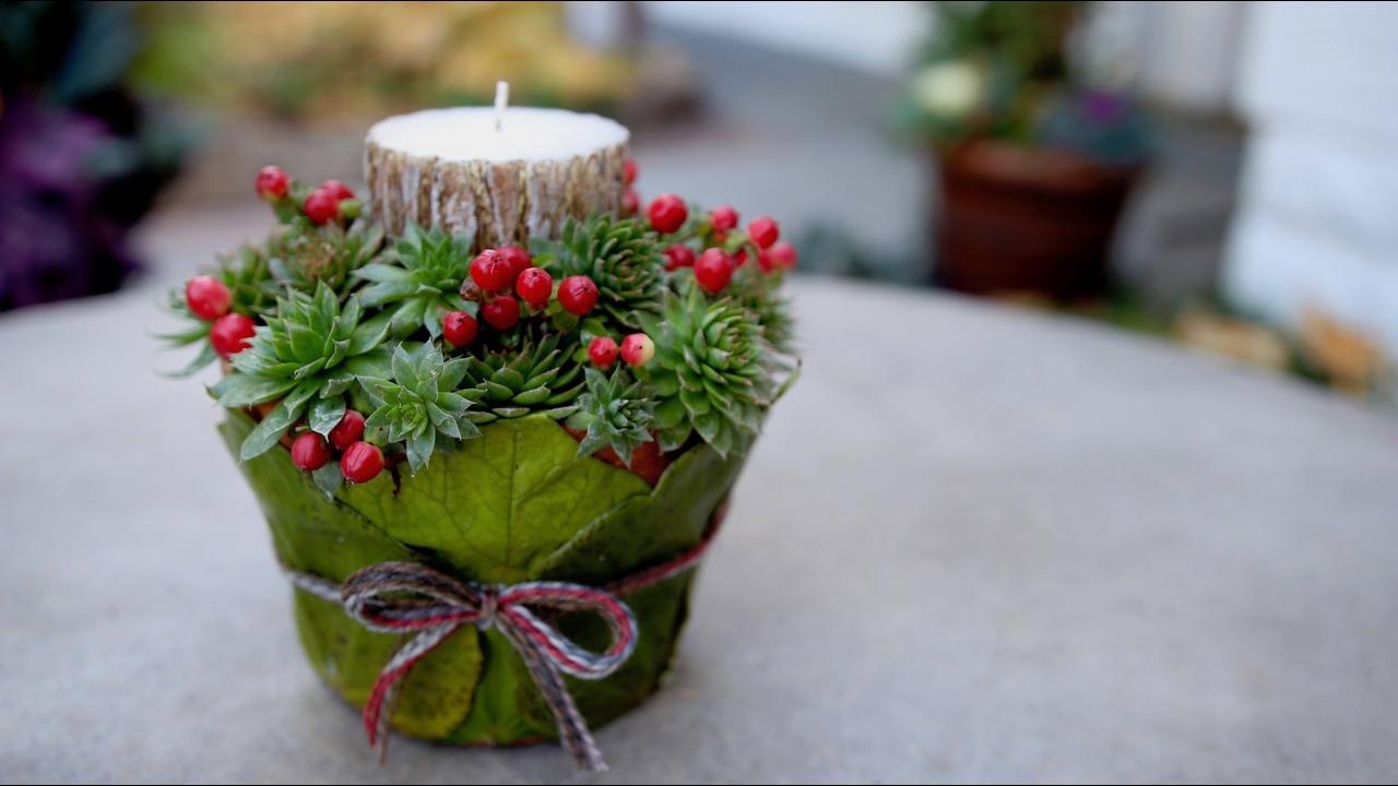 Tutorial de como transformar um vasinho de planta em porta velas para o Natal!!!