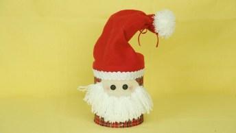 Tutorial De Papai Noel Feito De Reciclagem De Lata, Vale A Pena Conferir!