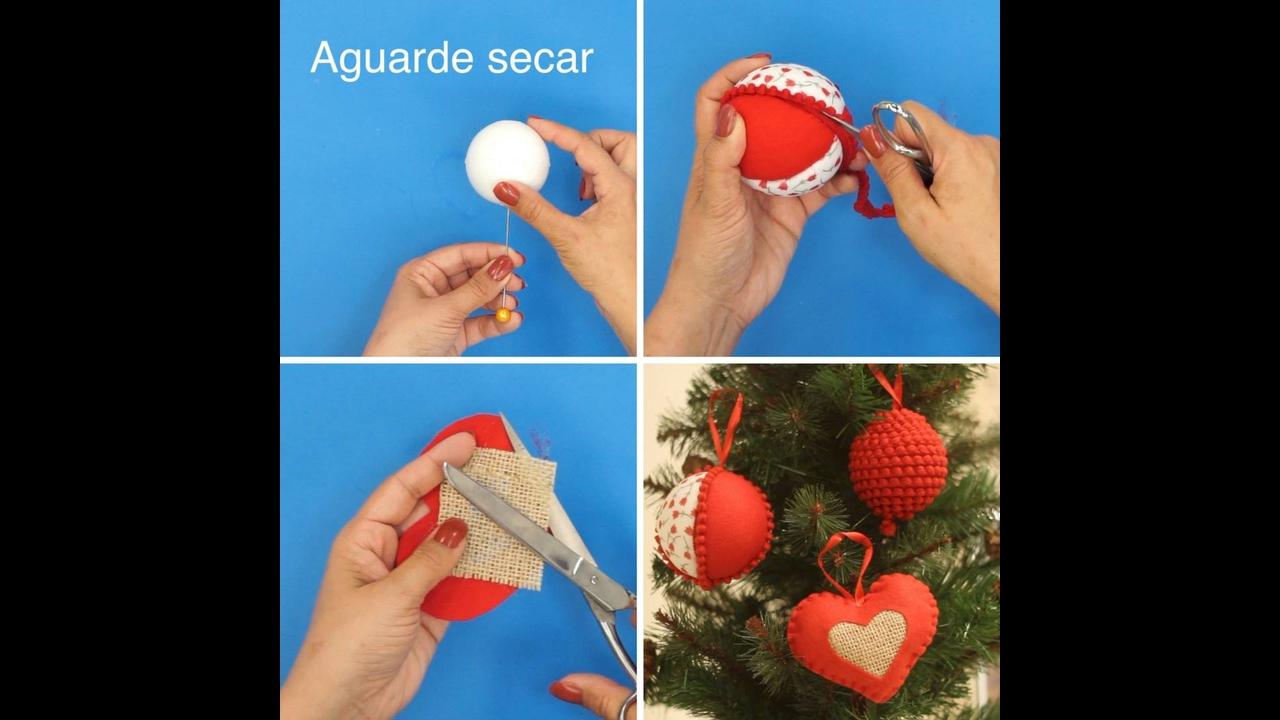 Vídeo com tutorial de enfeites de Natal para sua arvore com bolinha de isopor