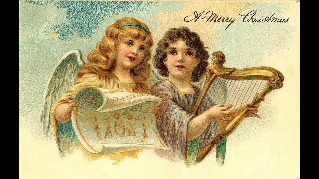 Vídeo de Natal com imagens de anjos