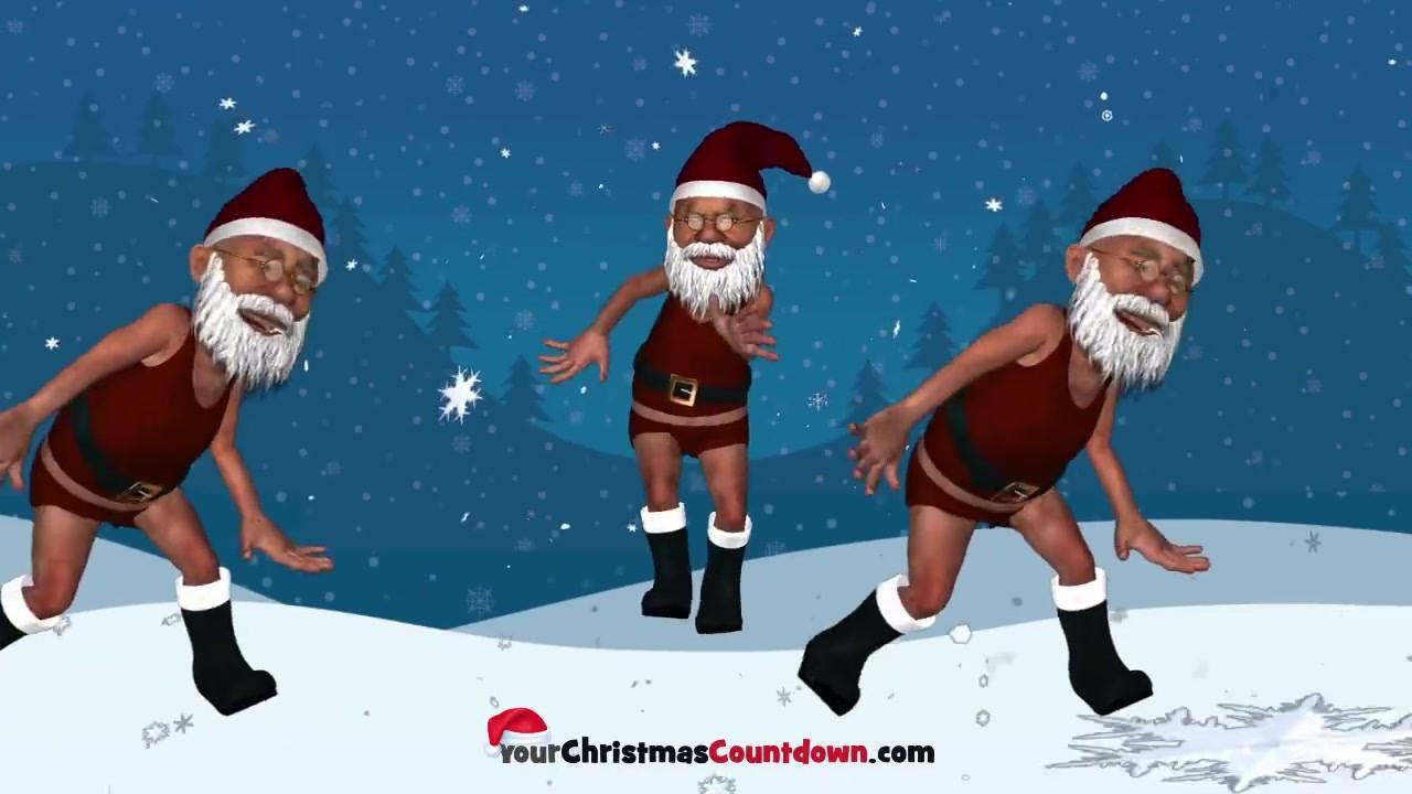 Vídeo engraçado de Natal com papai noel dançantes