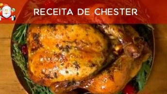 Receita De Chester Com Azeite De Ervas E Recheio De Moranga, Irresistível!