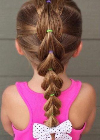 Trança Falsa para cabelo fino, com elastiquinhos coloridos