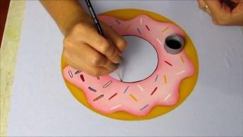 Aprendendo A Desenhar Um Donuts, Depois De Pintado Ele Fica Lindo!