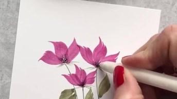 Arte De Desenhar Lindas Flores Com Pincel, Olhando Até Parece Fácil, Mas Não É!