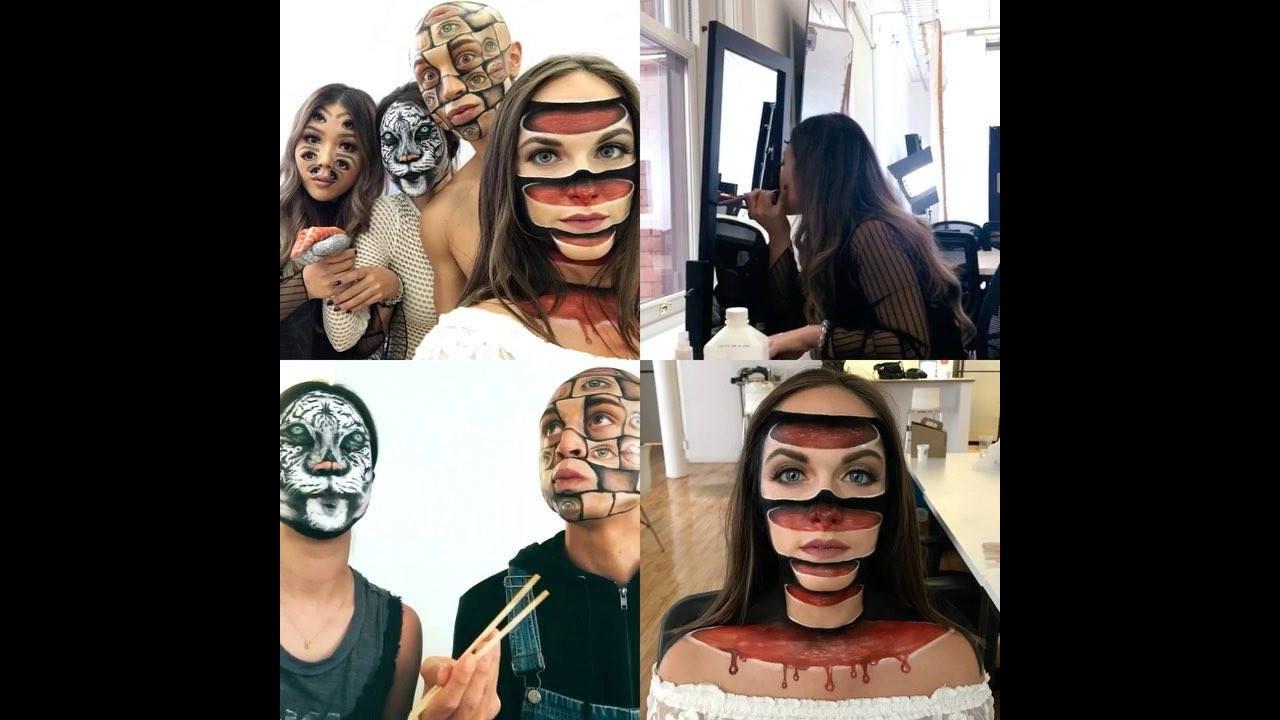 Arte de desenhar no rosto de forma assustadora e criativa
