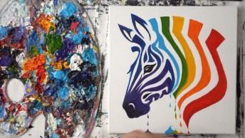 Arte De Desenhar, Pintar De Forma Mágica, Da Só Uma Olhada Nesta Zebra!