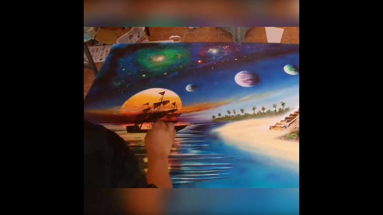 Arte de pintar quadros com tinta spray