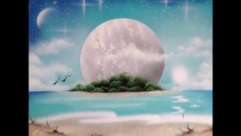 Arte Feita Com Tinta Em Spray Olha Só Esta Lua Refletindo No Mar!