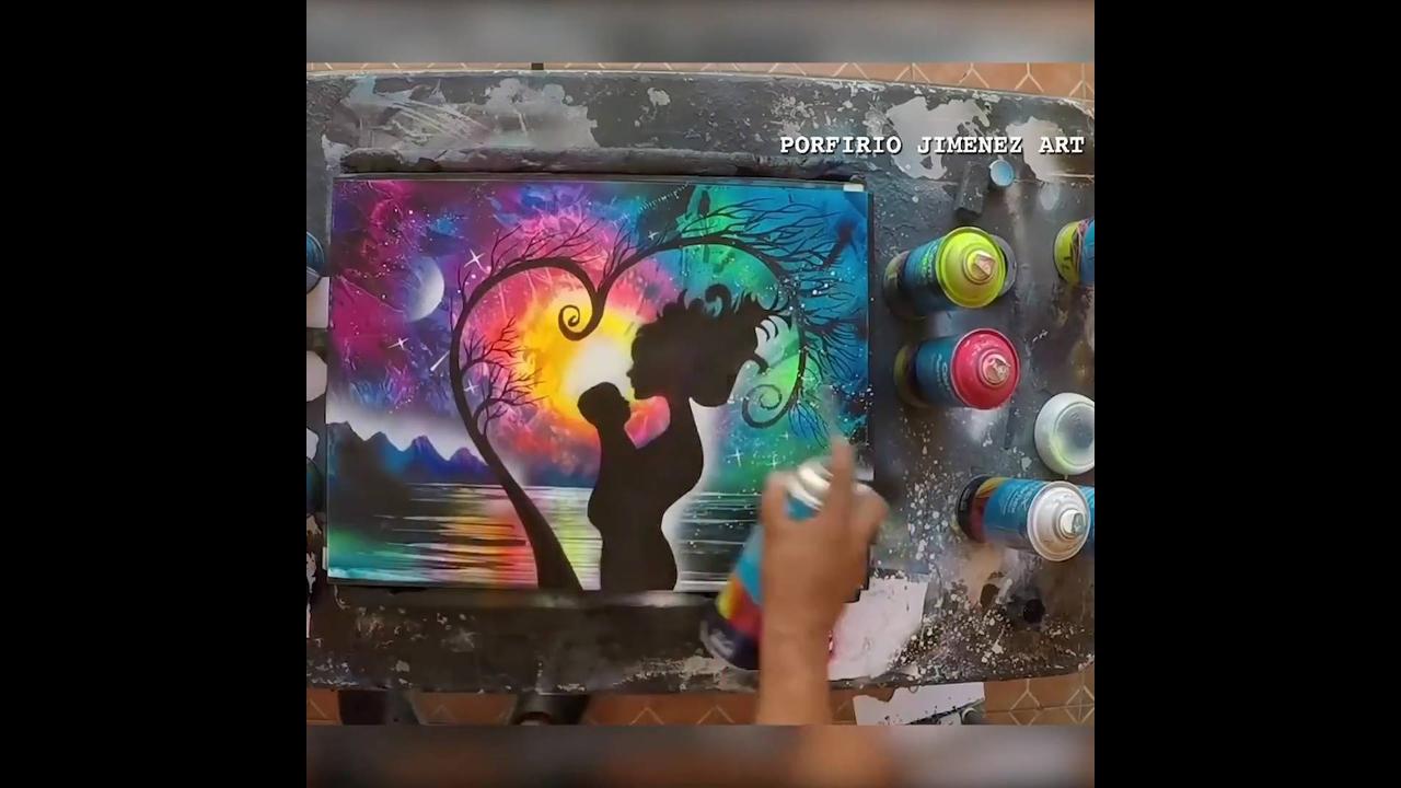 Artista pintando um quadro sensacional