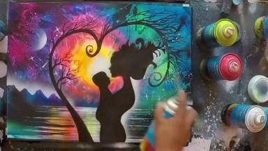 Artista Pintando Um Quadro Sensacional, O Resultado É Surpreendente!