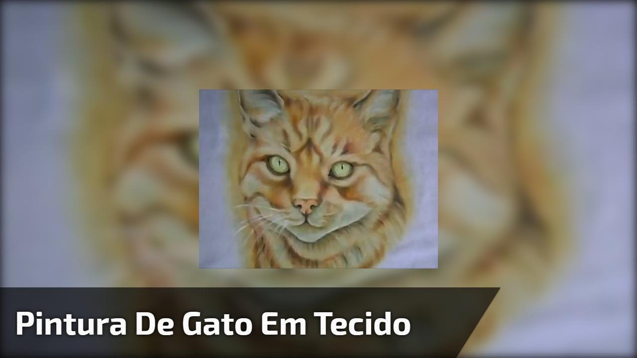 Pintura de gato em tecido