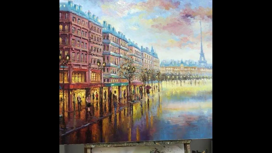 Desenhando uma rua de Paris, que lindo trabalho