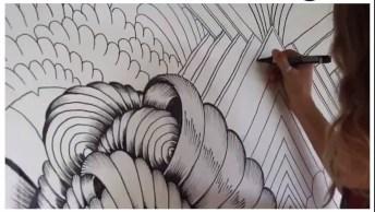 Desenho De Artista Na Parede, Muito Legal E Bonito, Confira!