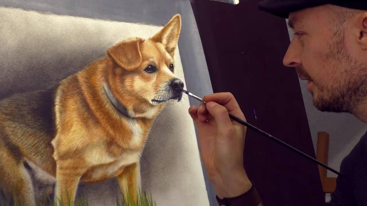 Desenho de cachorro em 3D, olha só que fantastico este trabalho!!!