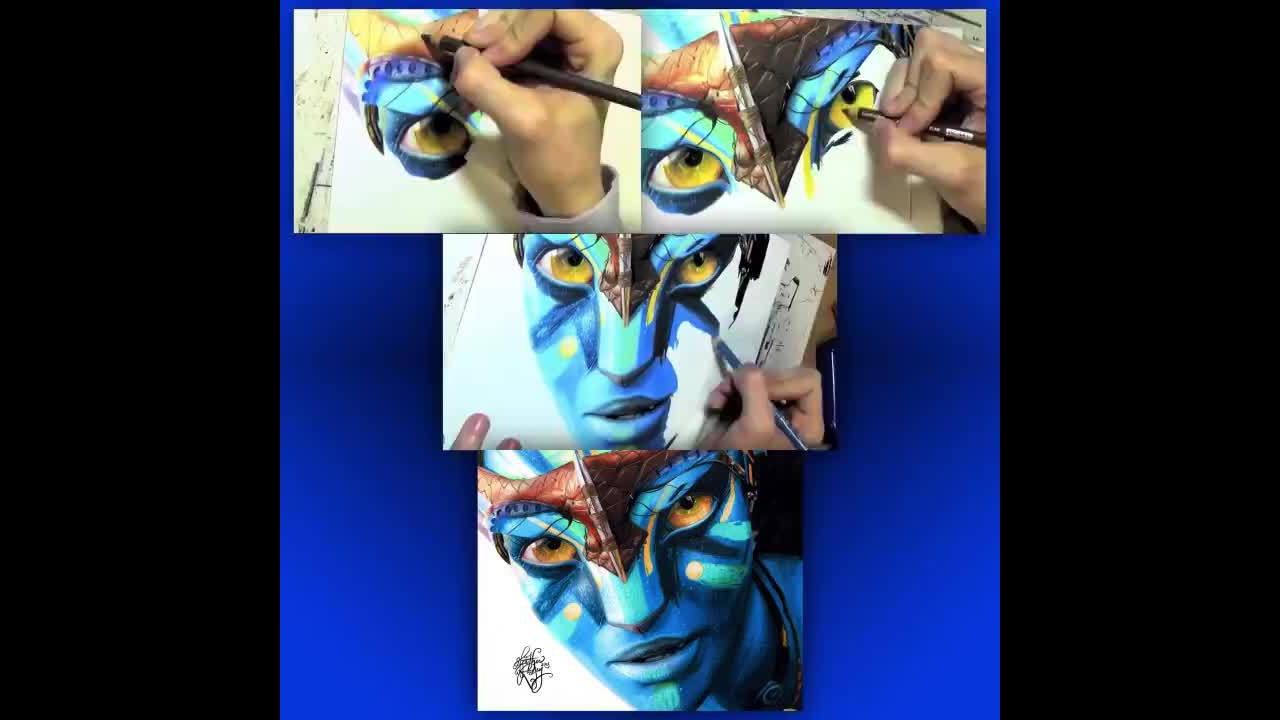 """Desenho de Neytiri do filme """"Avatar"""", olha só que trabalho perfeito!!!!"""