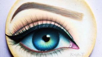 Desenho De Olho Feito Em Madeira Com Lápis De Cor, Veja A Que Perfeito!